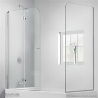 "Bath Authority DreamLine AquaFold Hinged Tub Door (56""-60"") with Return Panel, Chrome Finish Hardware SHDR-3636580-RT-01"