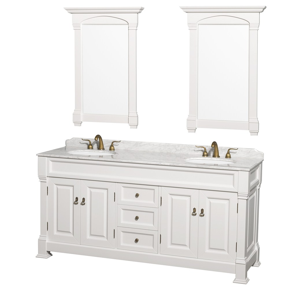 "Andover 72"" Traditional Bathroom Double Vanity Set by Wyndham Collection - White 