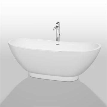"""Clara 69"""" Soaking Bathtub by Wyndham Collection, White WC-BTO857-69 by Wyndham Collection®"""