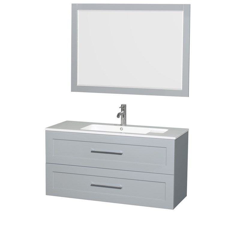 "Olivia 48"" Wall-Mounted Bathroom Vanity Set With Integrated Sink by Wyndham Collection - Dove Gray WC-R4500-48-VAN-DVG"