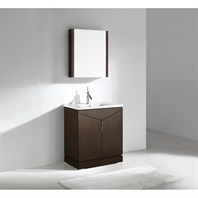 "Madeli Savona 30"" Bathroom Vanity with Porcelain Top - Walnut B925-30-001-WA-PORCELAIN"