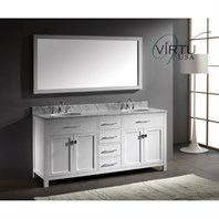 "Virtu USA Caroline 72"" Double Sink Bathroom Vanity - White MD-2072"