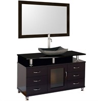 "Accara 55"" Bathroom Vanity with Drawers - Espresso w/ Black Granite Counter and Sink B706D-55-ESP-BLK-GR"