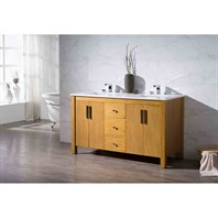 "Stufurhome Windsor 59"" Double Sink Bathroom Vanity with White Quartz Top - Natural Wood TY-7585-59-QZ"