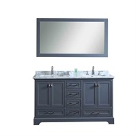 "Stufurhome Newport Grey 60"" Double Sink Bathroom Vanity with Mirror - Grey HD-7130G-60-CR"