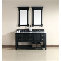 "James Martin 60"" South Hampton Double Vanity with Guangxi Marble Top - Antique Black 925-V60D-AQB-GWH"
