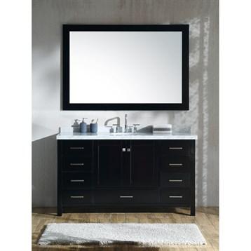 "Ariel Cambridge 61"" Single Sink Vanity Set With Carrara White Marble Countertop - Espresso"