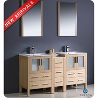 "Fresca Torino 60"" Light Oak Modern Double Sink Bathroom Vanity with Side Cabinet, Integrated Sinks, and Mirrors FVN62-241224LO-UNS"