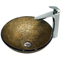 VIGO Textured Copper Vessel Sink and Erasma Faucet Set in Chrome VGT142