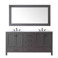"Stufurhome 72"" Lissa Double Sink Bathroom Vanity - Gray GM-6412-72-GRAY"