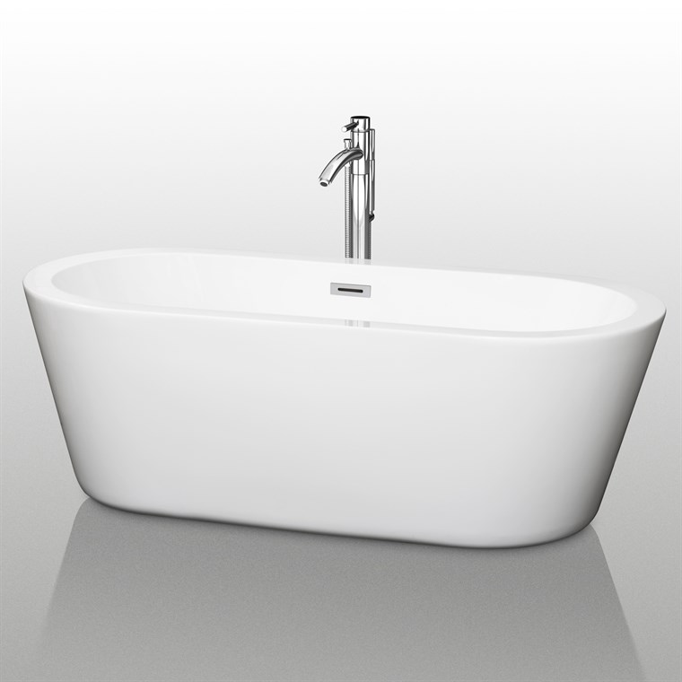 "Mermaid 67"" Soaking Bathtub by Wyndham Collection - White WC-BTE1003-67"