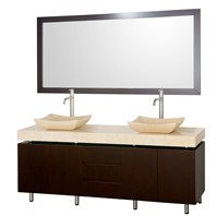 "Malibu 72"" Double Bathroom Vanity Set by Wyndham Collection - Espresso Finish with Ivory Marble Counter WC-CG3000-72-ESP-IVO"
