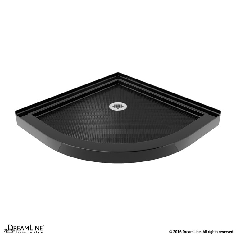 "Bath Authority DreamLine SlimLine Quarter Round Shower Base (33"" by 33"") - Black DLT-7033330-88"