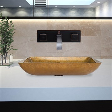 Vigo rectangular copper glass vessel sink and titus wall for Rectangular copper bathroom sink