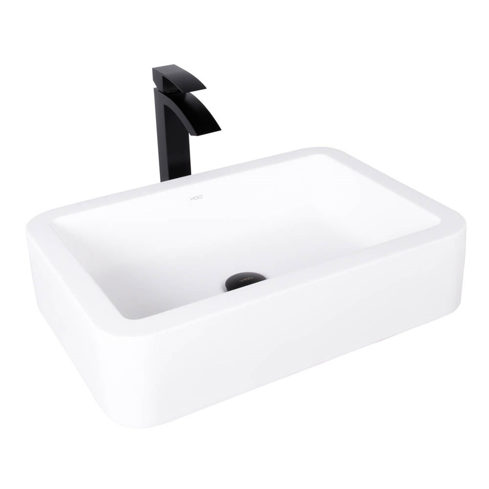 VIGO Navagio Matte Stone Vessel Sink and Duris Bathroom Vessel Faucet in Matte Blacknohtin Sale $249.90 SKU: VGT1005 :