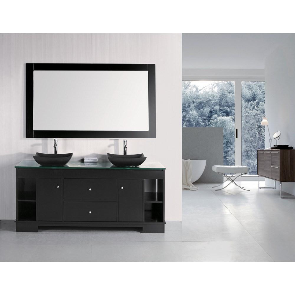 "Design Element Oasis 72"" Double Sink Vanity Set with Decorative Drawer - Espressonohtin Sale $2560.00 SKU: DEC105-72 :"