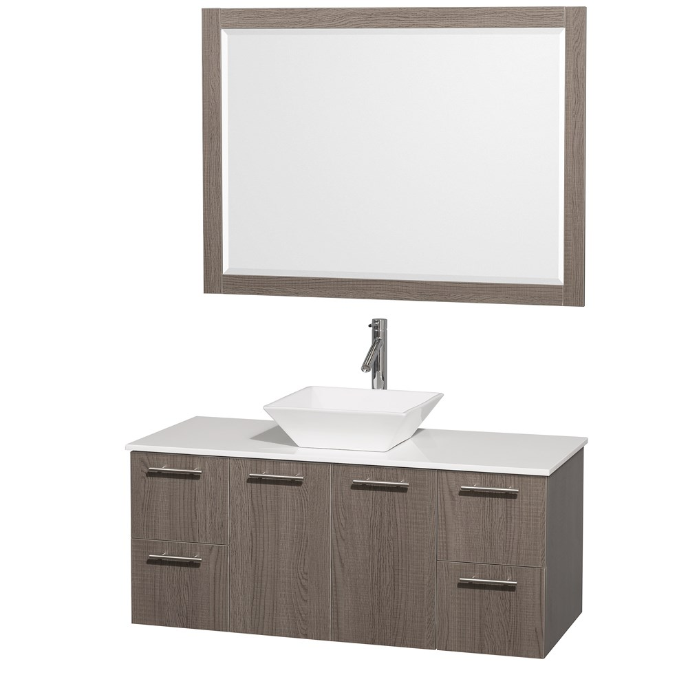 Amare 48 inch Wall Mounted Bathroom Vanity Set with Vessel Sink by Wyndham Collection Gray Oak