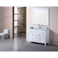 "Design Element London 48"" Bathroom Vanity with White Carrera Countertop, Porcelain Sink and Mirror - Pearl White DEC076C-W"