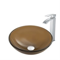 Vigo Sheer Sepia Frost Glass Vessel Sink and Duris Faucet Set in Chrome Finish VGT864
