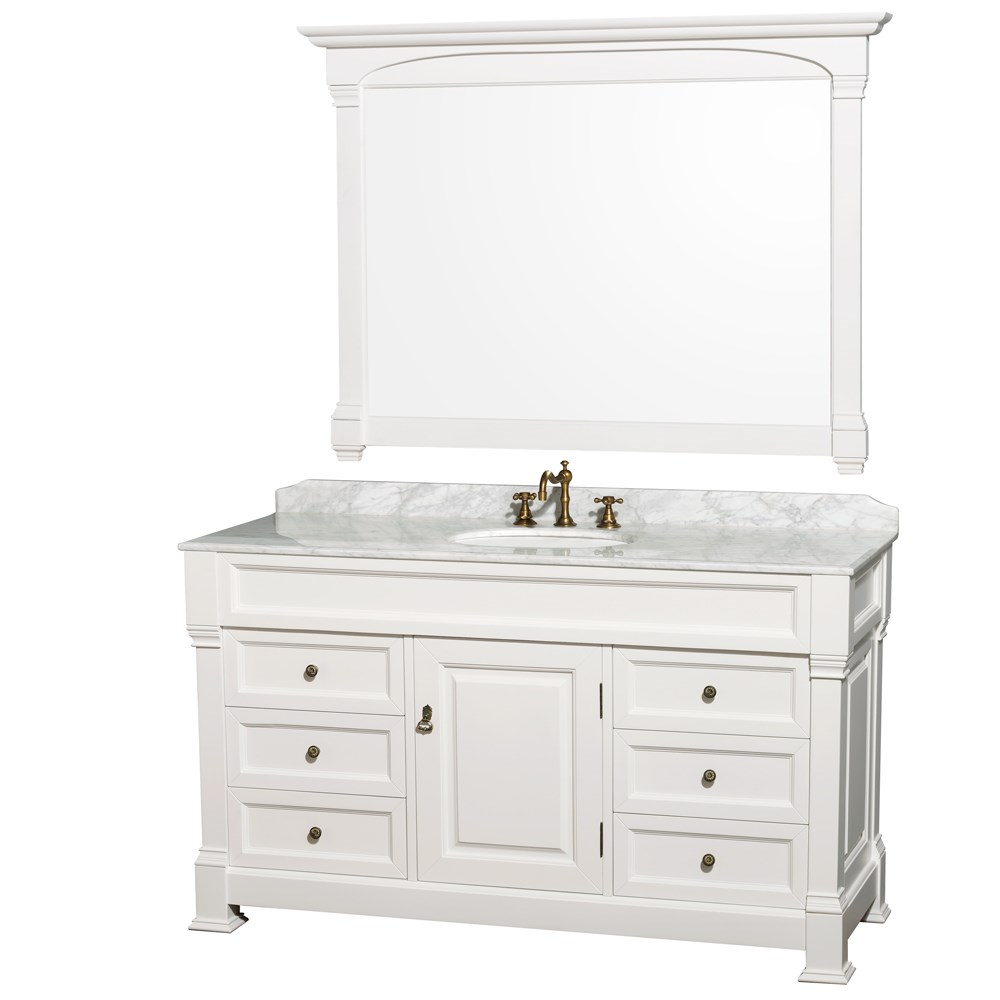"Andover 60"" Traditional Bathroom Vanity Set by Wyndham Collection - Whitenohtin Sale $1799.00 SKU: WC-TS60-WHT :"