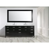 "Design Element London 84"" Double Sink Vanity Set - Espresso DEC076-84"
