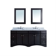 "Stufurhome 72"" Decker Double Sink Vanity with Carrera Marble Top VM-19710D"