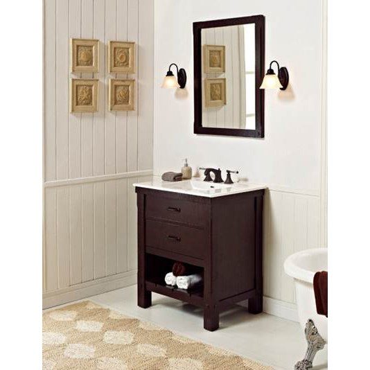 "Fairmont Designs 30"" Napa Open Shelf Vanity with Integrated Sink Option - Aged Cabernetnohtin"
