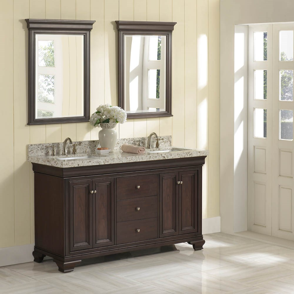 "Fairmont Designs Providence 60"" Double Bowl Vanity For Quartz Top - Aged Chocolatenohtin Sale $1950.00 SKU: 1529-V6021D_ :"