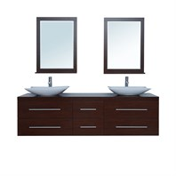 "Stufurhome 72"" Calliope Double Sink Vanity - Iron Wood VM-14186"