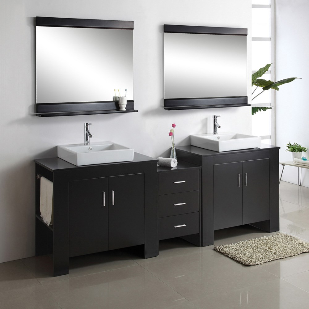 Virtu usa tavian 90 double sink bathroom vanity - Modern double sink bathroom vanities ...