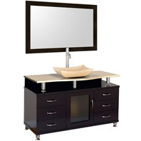 "Accara 55"" Bathroom Vanity with Drawers - Espresso w/ Ivory Marble Counter B706D-55-ESP-IVO"