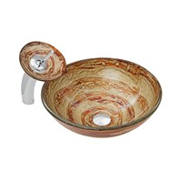 VIGO Mocha Swirl Glass Vessel Sink and Waterfall Faucet Set VGT050