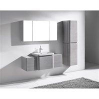 "Madeli Euro 50"" Bathroom Vanity with Integrated Basin - Ash Grey B930-24-002-AG, 2X-UC930-12-007-AG"