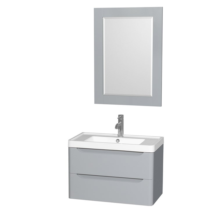 "Murano 30"" Wall-Mounted Bathroom Vanity Set with Integrated Sink by Wyndham Collection - Gray WC-7777-30-SGL-VAN-GRY"