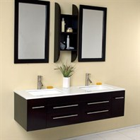 Fresca Bellezza Espresso Modern Double Sink Bathroom Vanity with Mirrors FVN6119UNS
