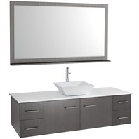 "Bianca 60"" Wall-Mounted Single Bathroom Vanity - Gray Oak WHE007-60-GROAK-SGL"