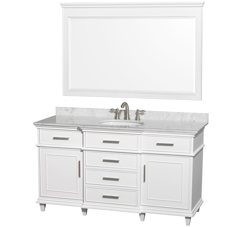"Berkeley 60"" Single Bathroom Vanity by Wyndham Collection - White WC-1717-60-SGL-WHT"