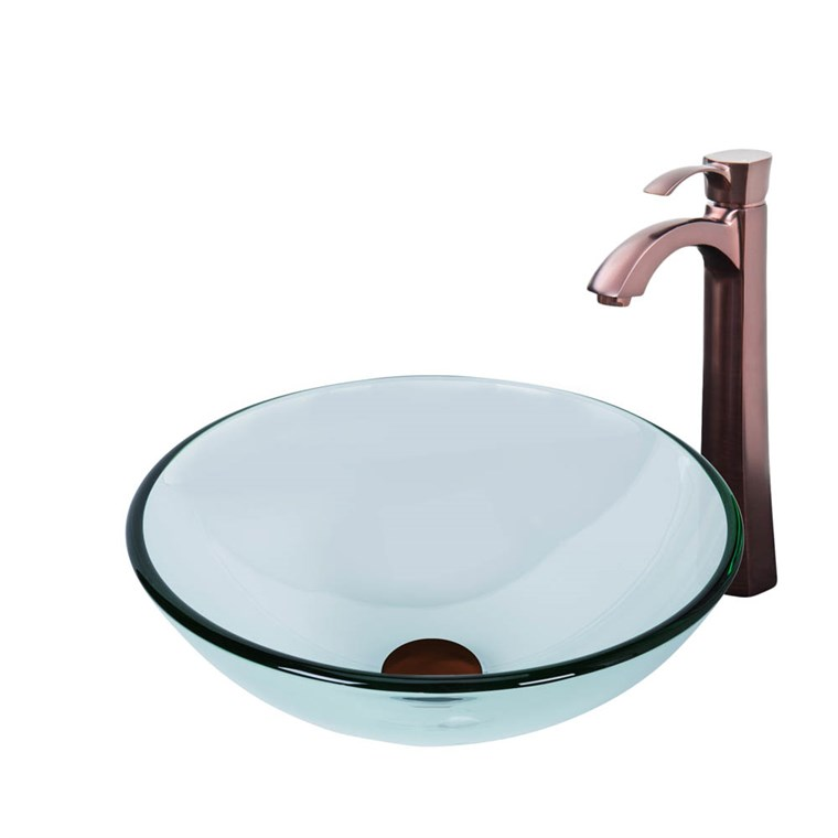VIGO Crystalline Glass Vessel Sink and Otis Vessel Faucet Set in a Oil Rubbed Bronze Finish VGT897