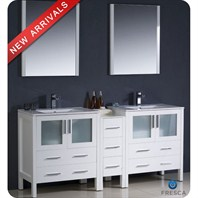 "Fresca Torino 72"" White Modern Double Sink Bathroom Vanity with Side Cabinet & Integrated Sinks FVN62-301230WH-UNS"