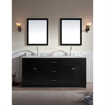 "Ariel Hamlet 73"" Double Sink Vanity Set with White Quartz Countertop in Black F073D-WQ-BLK by Ariel"