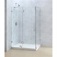 "Bath Authority DreamLine QuatraLux Frameless Hinged Shower Enclosure (34-5/16"" by 34-5/16"") SHEN-1334340"