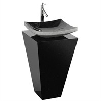 Esprit Custom Bathroom Pedestal Vanity - Black Granite w/ Black Granite Sink CS004-BMBG-GS001