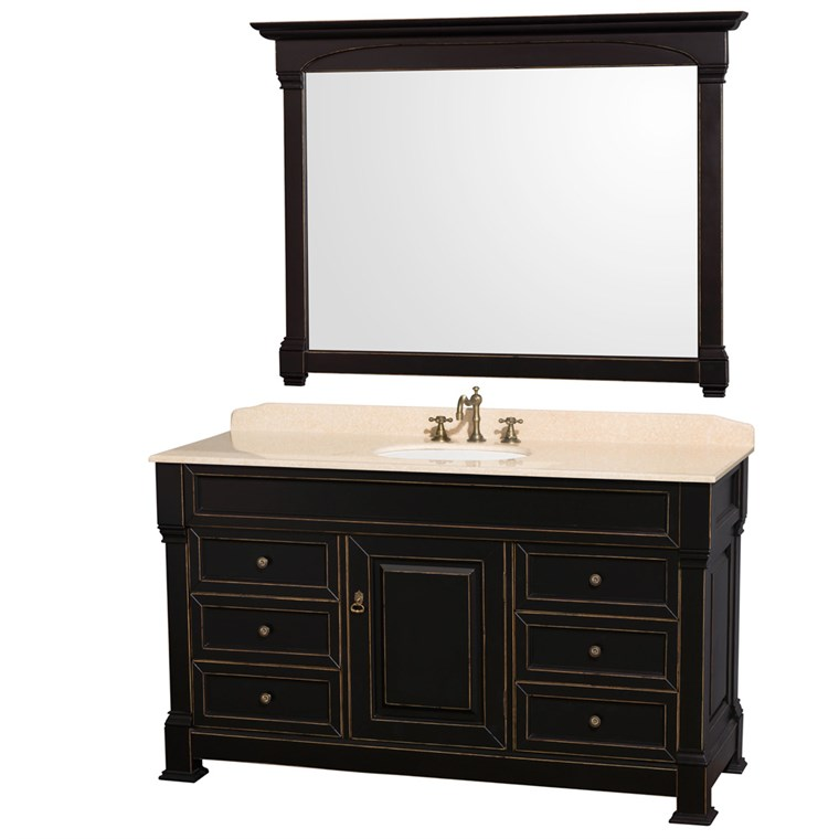 "Andover 60"" Traditional Bathroom Vanity Set by Wyndham Collection - Black WC-TS60-BLK"