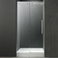 "VIGO 48-inch Frameless Shower Door 3/8"" Frosted/Chrome Hardware Right with White Base - Center Drain VG6041CHMT48RWS"