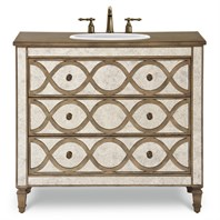 "Cole & Co. 40"" Designer Series Brooks Vanity - Mirrored with Aged Gold Accents 11.23.275540.73"