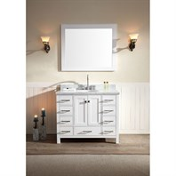 "Ariel Cambridge 43"" Single Sink Vanity Set with Carrera White Marble Countertop - White A043S-WHT"