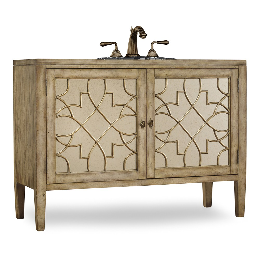 "Image of Cole & Co. 52"" Designer Series Collection Lindsay Vanity - Antiqued Parchment"
