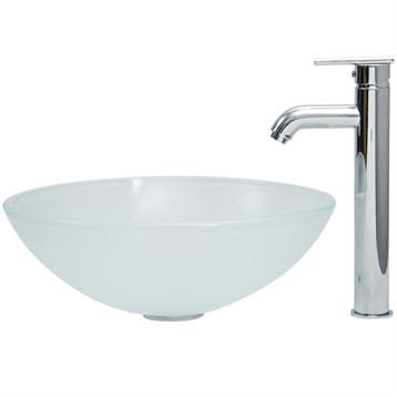 Vigo White Frost Vessel Sink and Tall Faucet Set VGT269- by Vigo Industries