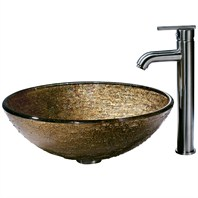 VIGO Textured Copper Glass Vessel Sink and Faucet Set in Brushed Nickel VGT154