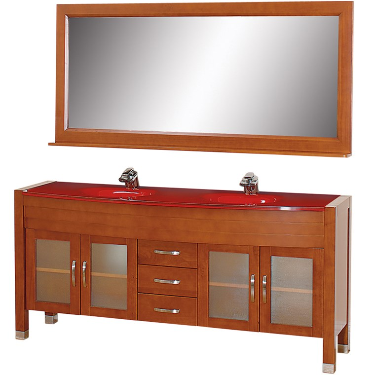 "Daytona 71"" Double Bathroom Vanity Set by Wyndham Collection - Cherry w/ Drawers WC-A-W2200-71-CH-"